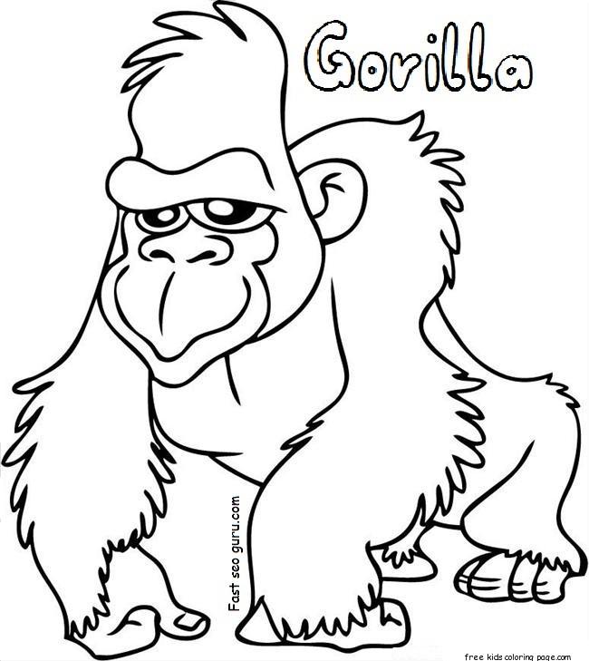 gorilla coloring sheets free printable for kidsFree Printable Coloring ...