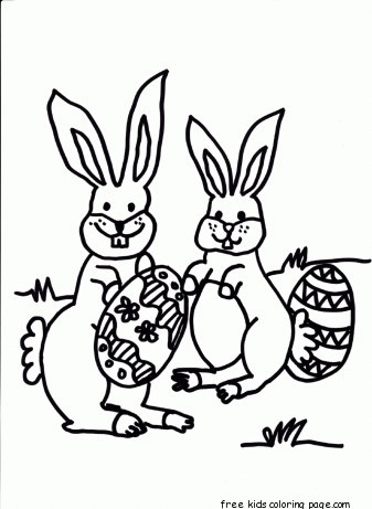 Printable Easter Bunny Hiding Eggs Coloring Page For