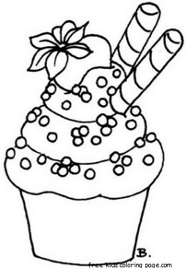 Printable cupcake coloring page