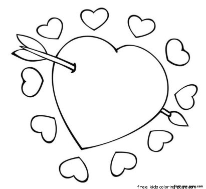 Cupid Arrow Through The Heart Valentine Coloring Pagesfree