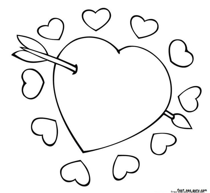 Cupid Arrow Through The Heart Valentine Coloring PagesFree ...