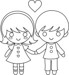 Print kids couple valentine coloring page