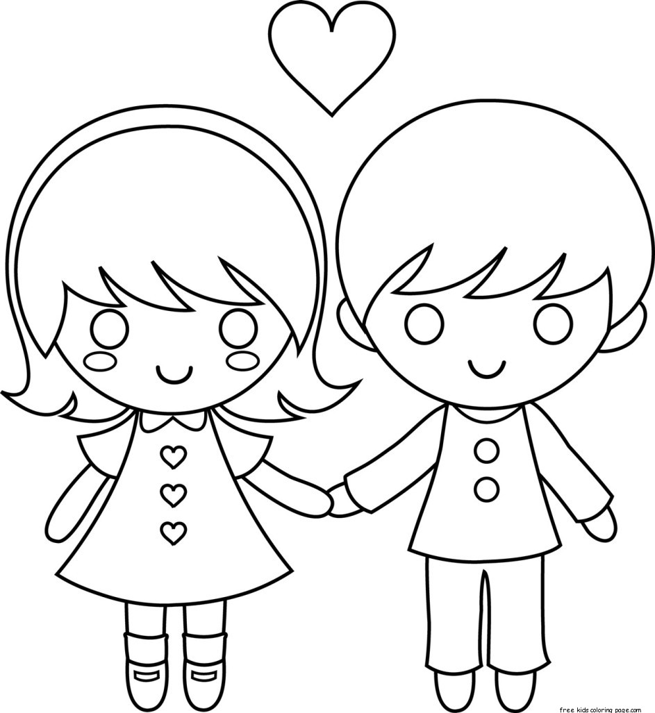 Printable Couple Valentine Day Coloring Pages For KidsFree