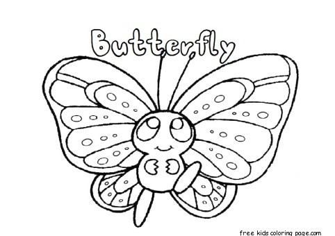 Printable preschool butterfly coloring