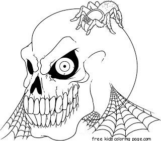 Printable Halloween Skull coloring