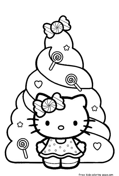 Christmas Hello Kitty Coloring Pages Free PrintFree Printable