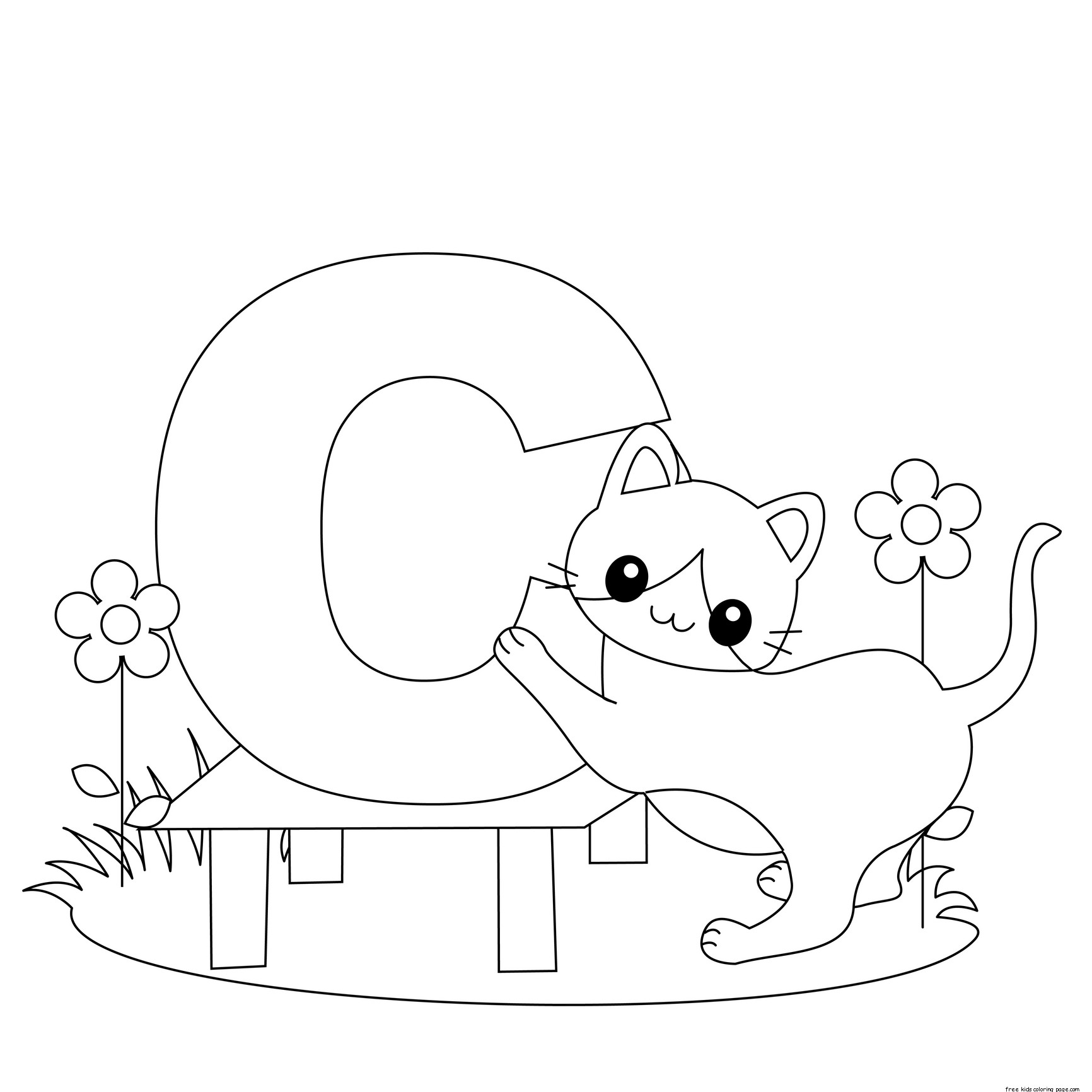 Printable alphabet worksheets letter c for cat for for C is for cat coloring page