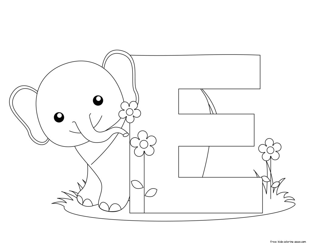 Printable alphabet letter e activity worksheet for for Animal alphabet coloring pages free
