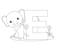 Printable Animal Alphabet Letter E for Elephant