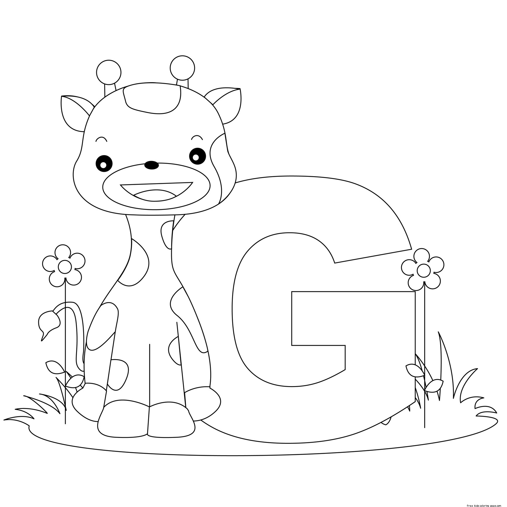 Coloring Pages Animals Letters : Alphabet letter g for preschool activities worksheetsfree
