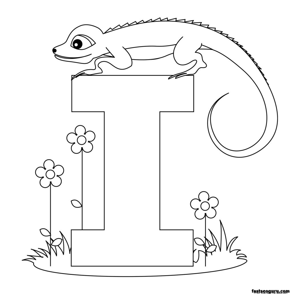 printable animal alphabet letter i for iguana free printable
