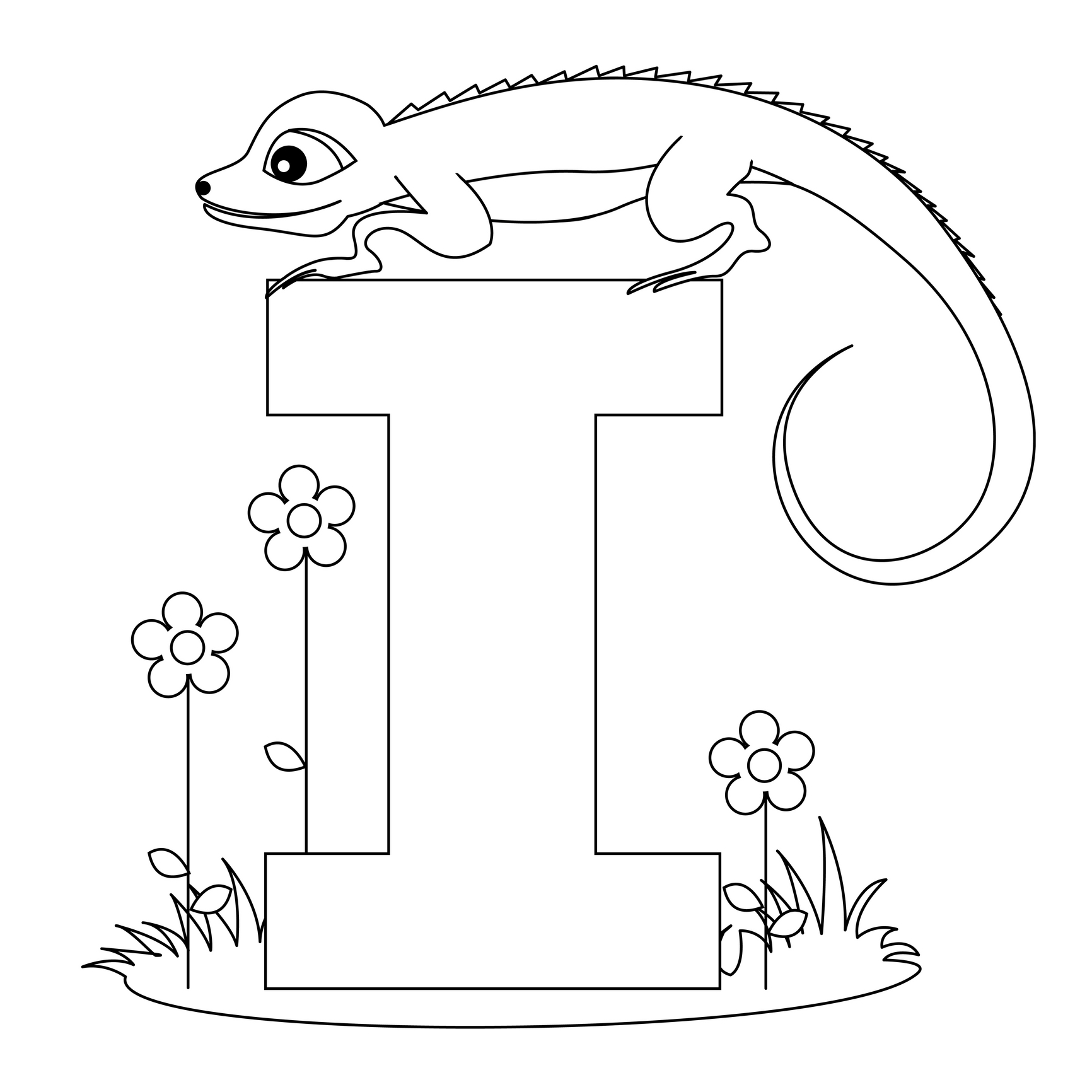 Printable alphabet worksheets letter i for iguana for for Animal alphabet coloring pages free
