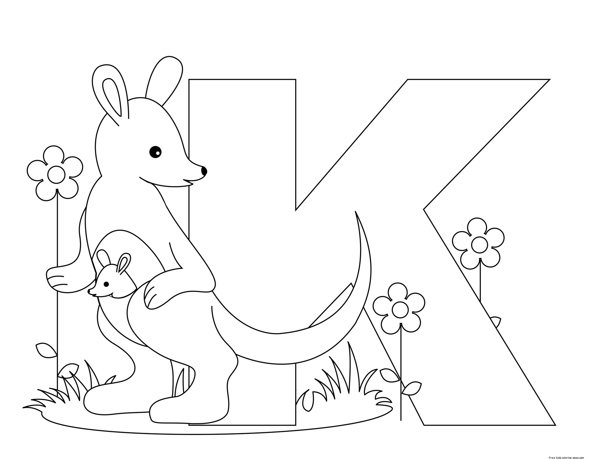 Printable animal alphabet letter k for kangaroo free for Free printable alphabet coloring pages for kids