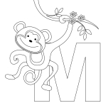 Printable Animal Alphabet Letter M for Monkey