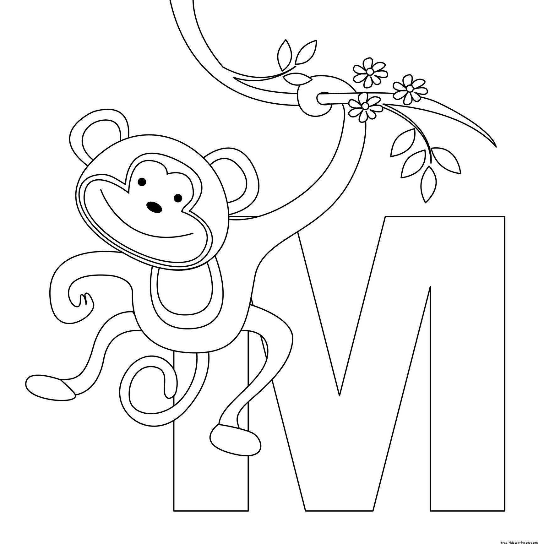 Letter m monkey coloring page printable interactive auto for Learning planet alphabet coloring pages