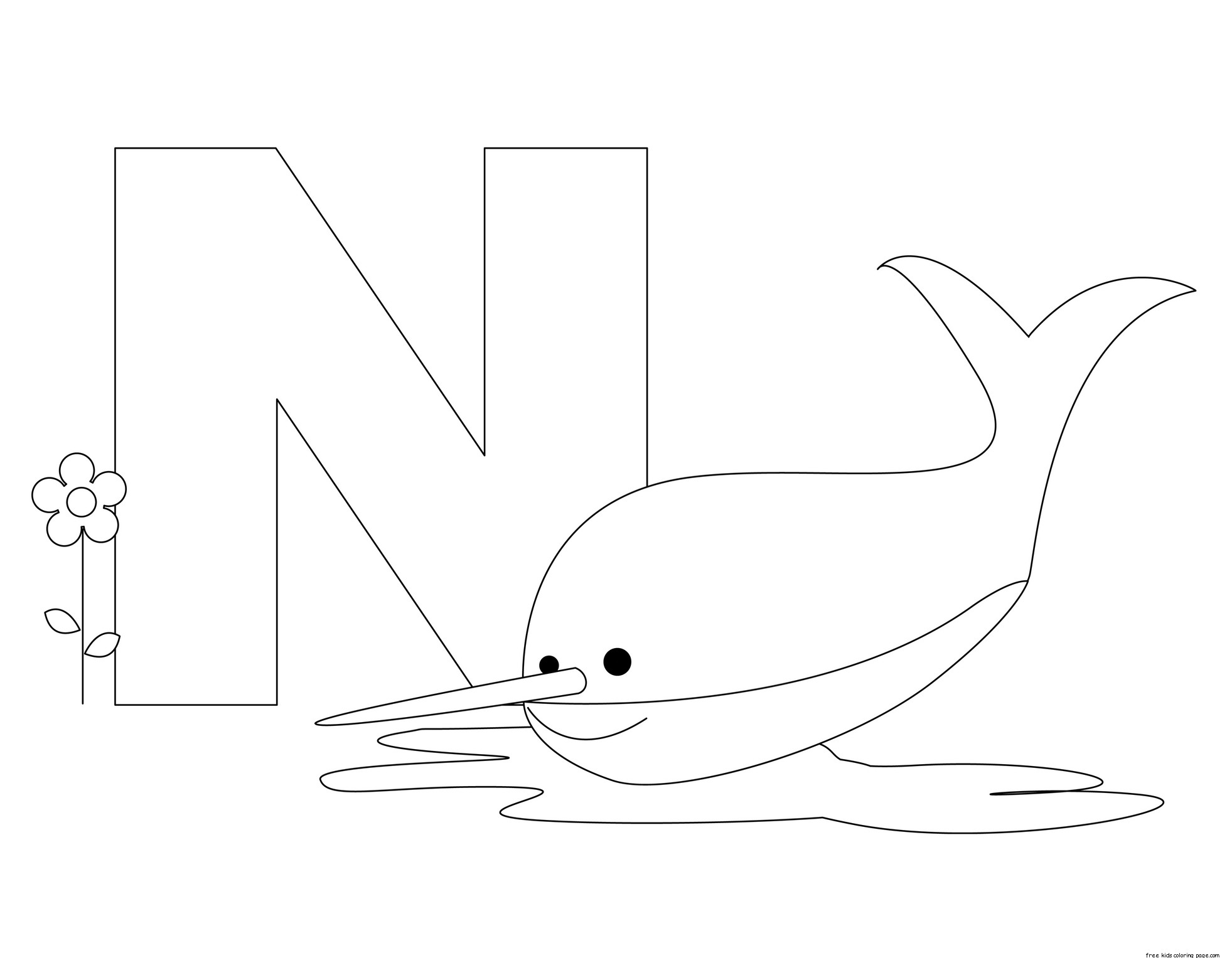 Coloring Pages Animals Letters : Printable animal alphabet letter n is for nurse shark