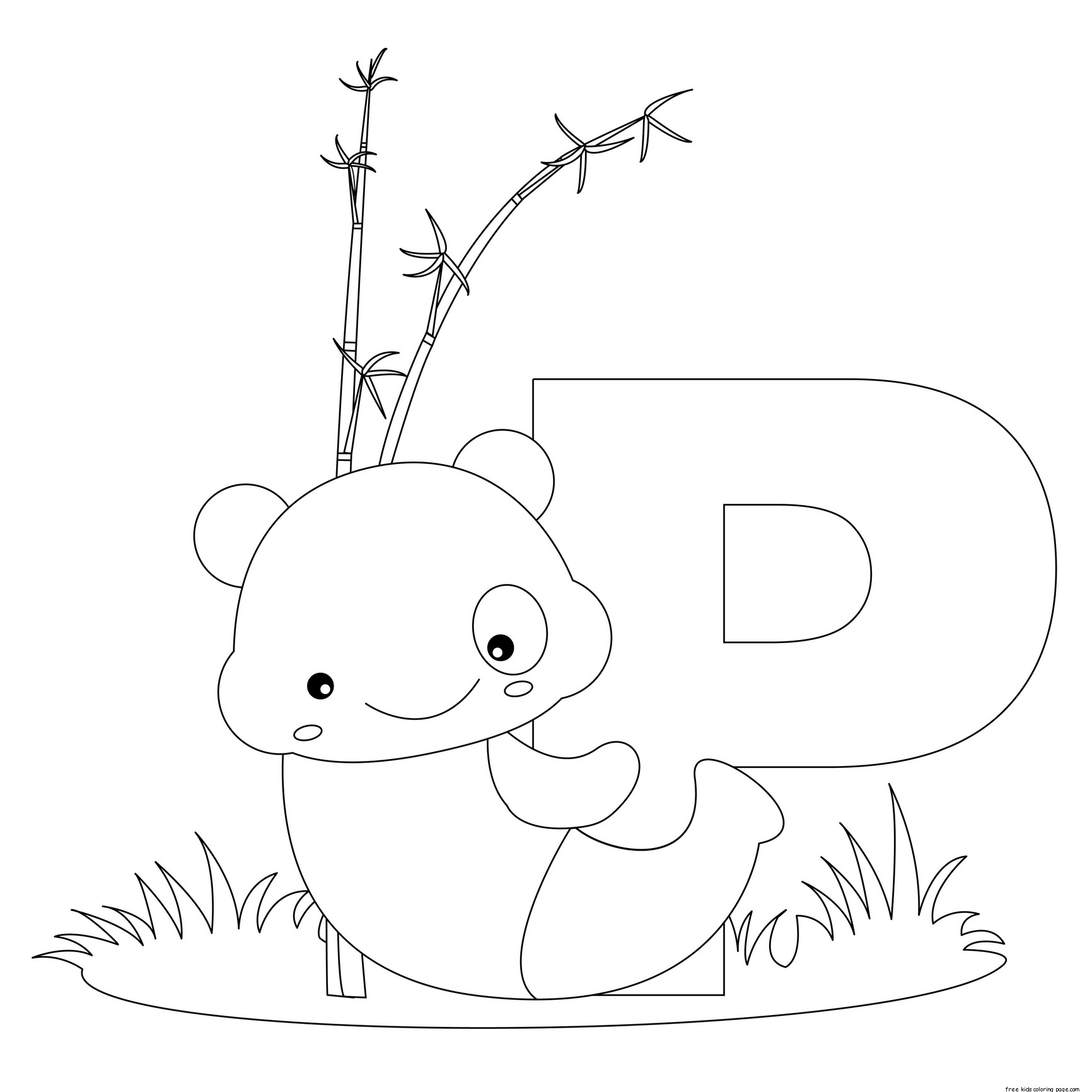 Animal alphabet letters to print and color letter p for for Free alphabet coloring pages for toddlers