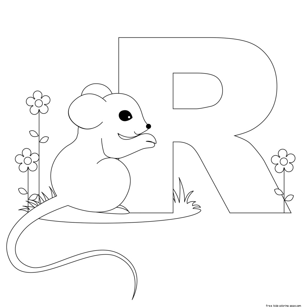 Printable animal alphabet letters coloring pages letter RFree