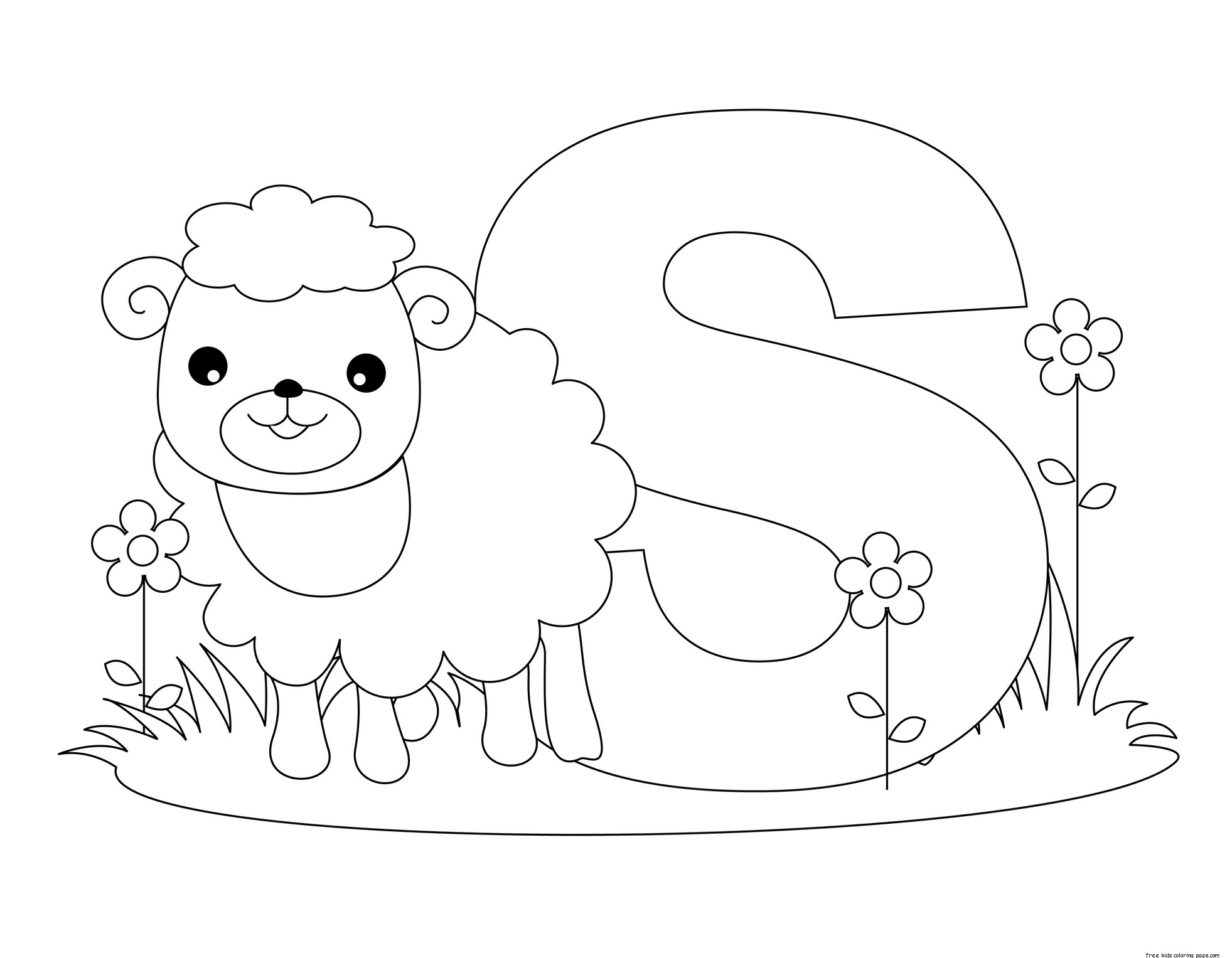 Printable animal alphabet letter s is for sheep for for Free coloring pages with letters