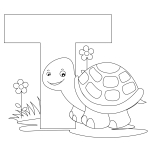 Printable Animal Alphabet Letter T is for Turtle