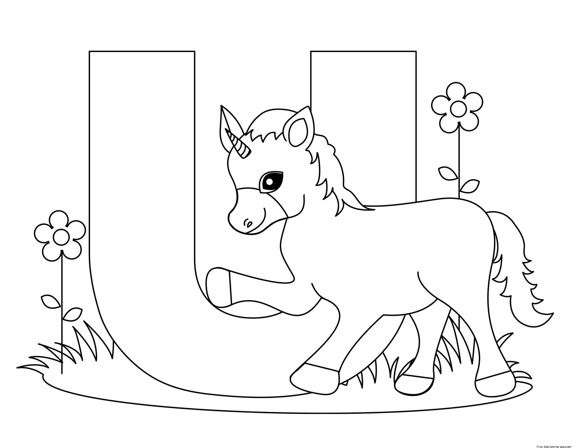 Printable Alphabet Letters Uppercase Letter U Unicorn on Superheroes Worksheets For Kids