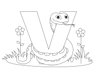 Printable Animal Alphabet Letter V is for Viper