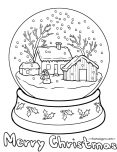 Printable christmas snow globe coloring pages