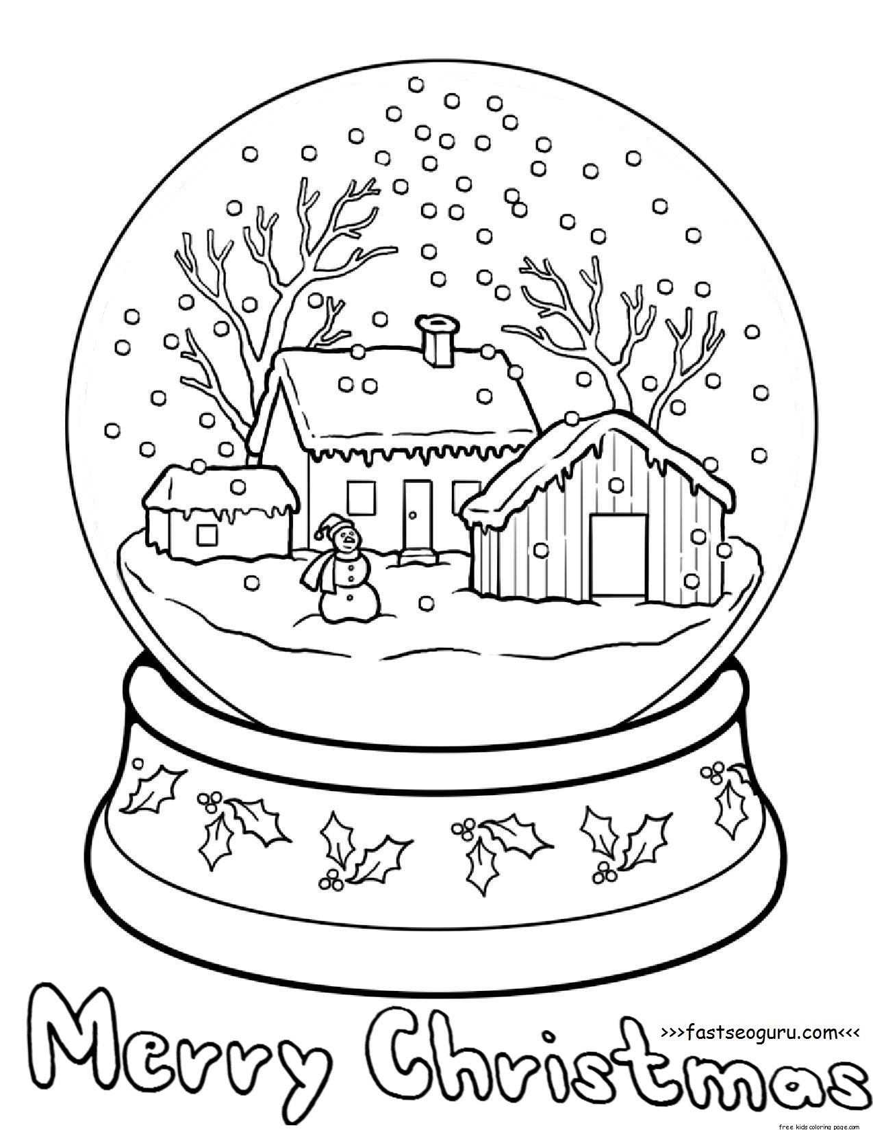 Printble christmas snow globe coloring