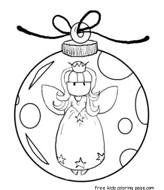 Printable angel christmas tree decorations coloring for Christmas baubles templates to colour