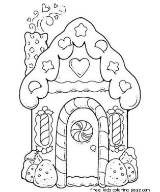 Gingerbread house printable coloring pages for kidsfree for Coloring pages of gingerbread houses