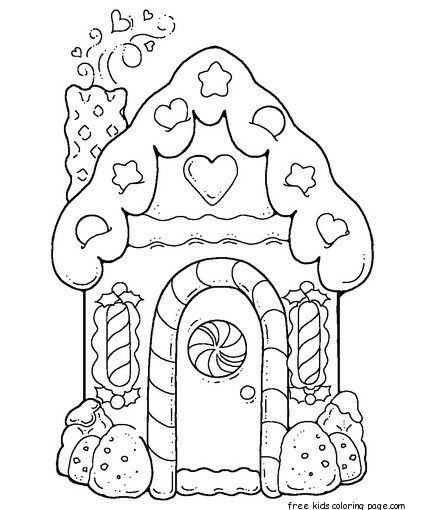 gingerbread house printable coloring pages for kidsFree ...