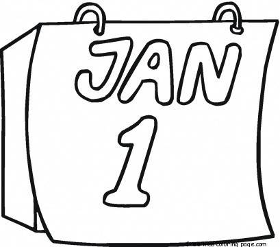 Printable new year calendar coloring page for kidsfree for New years coloring pages 2014