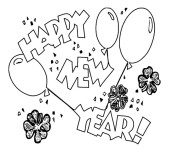 New Year's Balloons coloring page