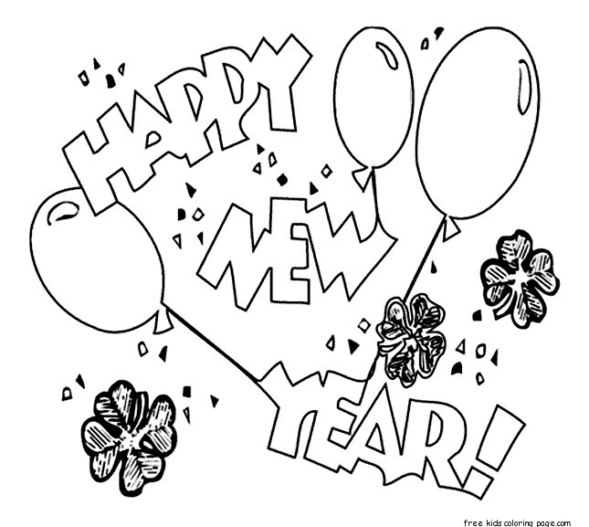 Printable Happy New Year Balloons Coloring Pages