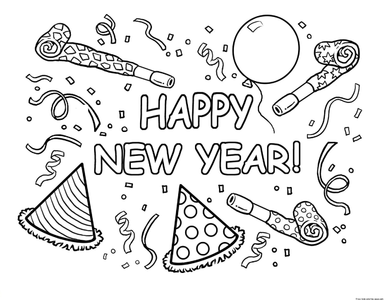 Free Coloring Pages Of New Year Card