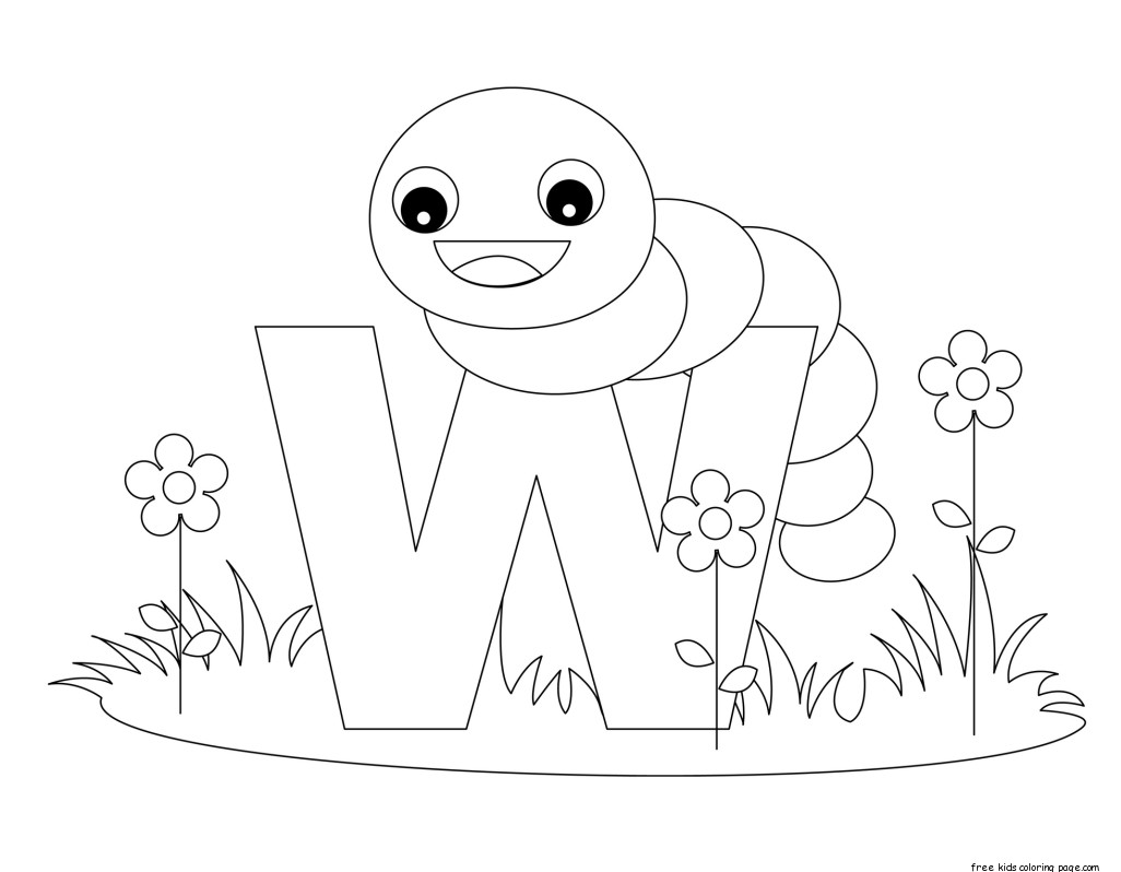 printable alphabet coloring pages animals | printable alphabet letters with animals letters w is for ...