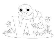 Printable Animal Alphabet Letter W is for Worm