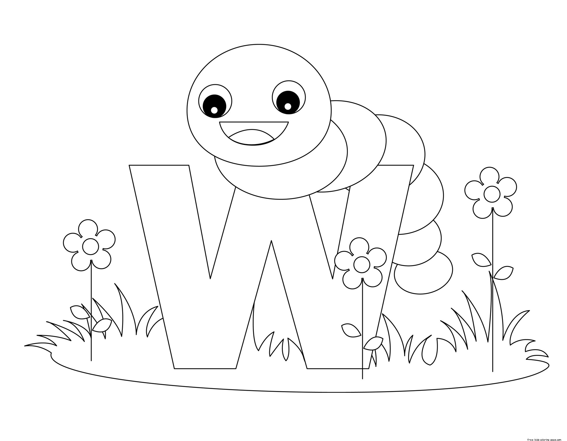 Alphabet Coloring Pages W : Printable alphabet letters with animals w is for