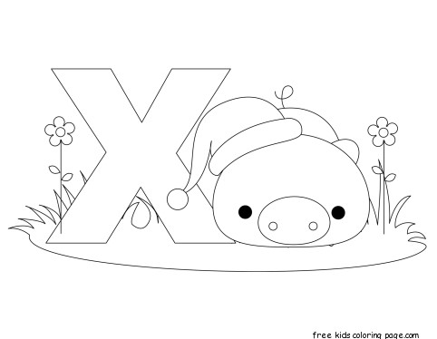 Printable alphabet letter x worksheet for xenarthrafree for Animal alphabet coloring pages free