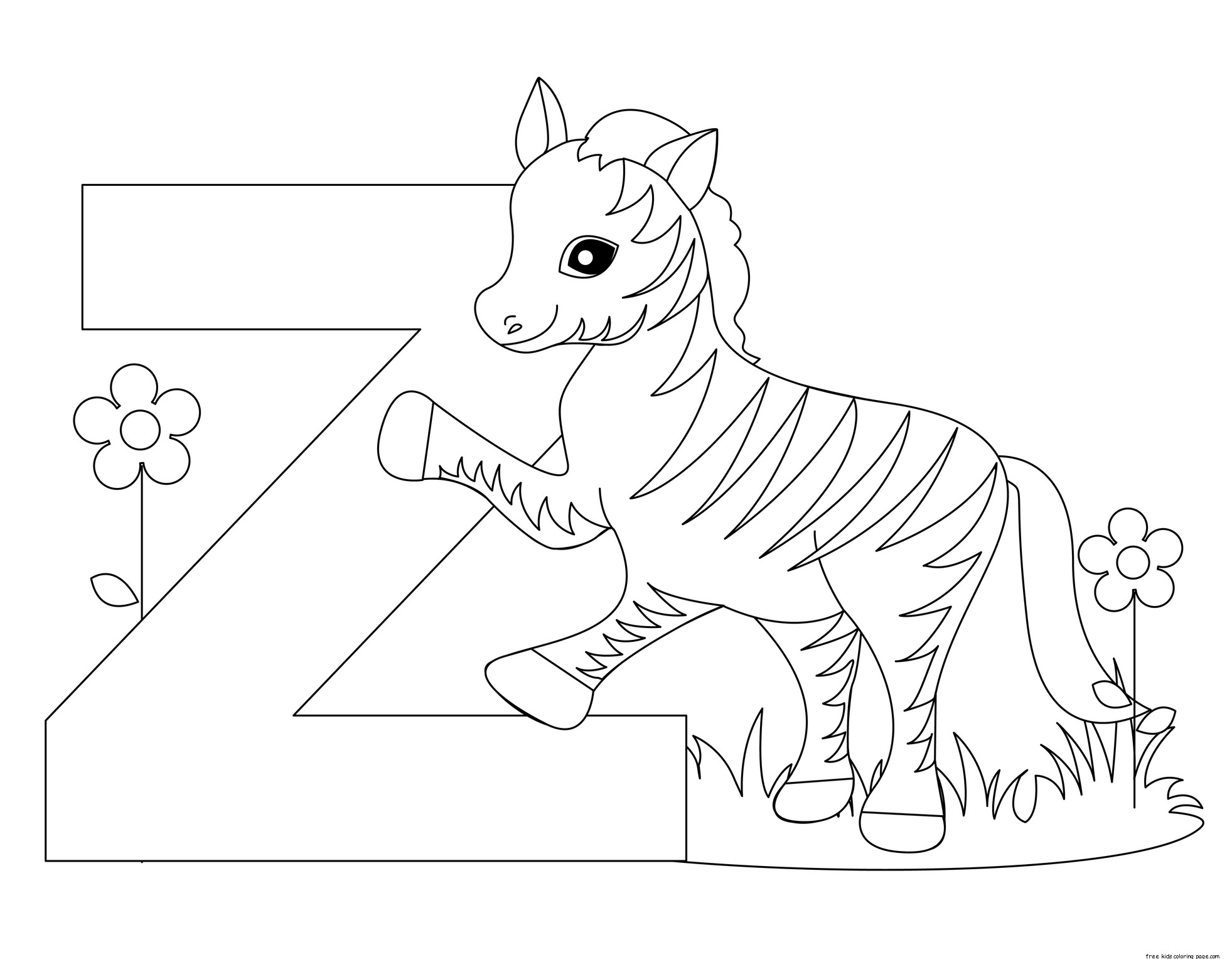 printable alphabet coloring pages animals | Printable alphabet letter z worksheet for PreschoolFree ...