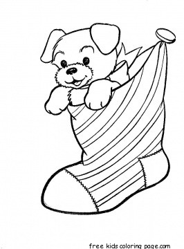 Print out puppy in christmas stocking coloring pages for kidsfree