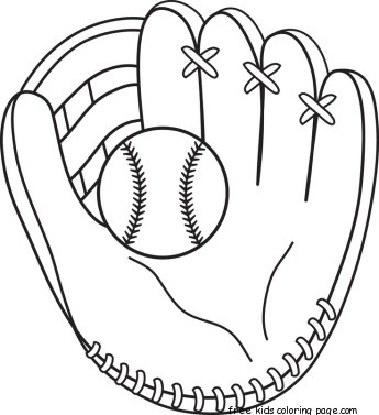 Printable baseball bat and glove coloring pages for for Baseball coloring pages for kids