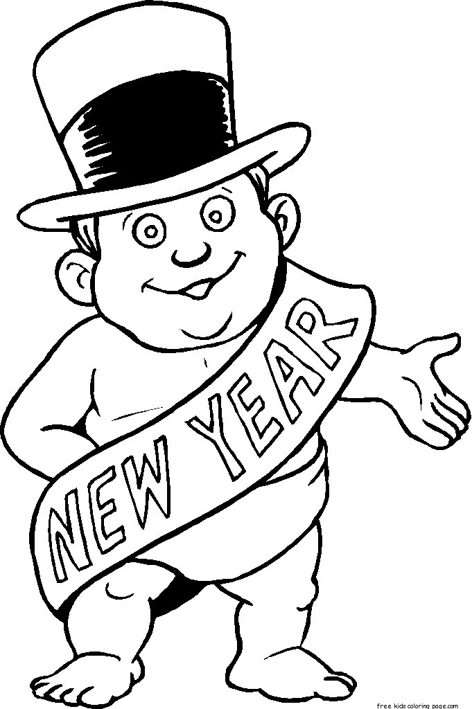 new years printable coloring pages - printable new years baby coloring sheet for kidsfree