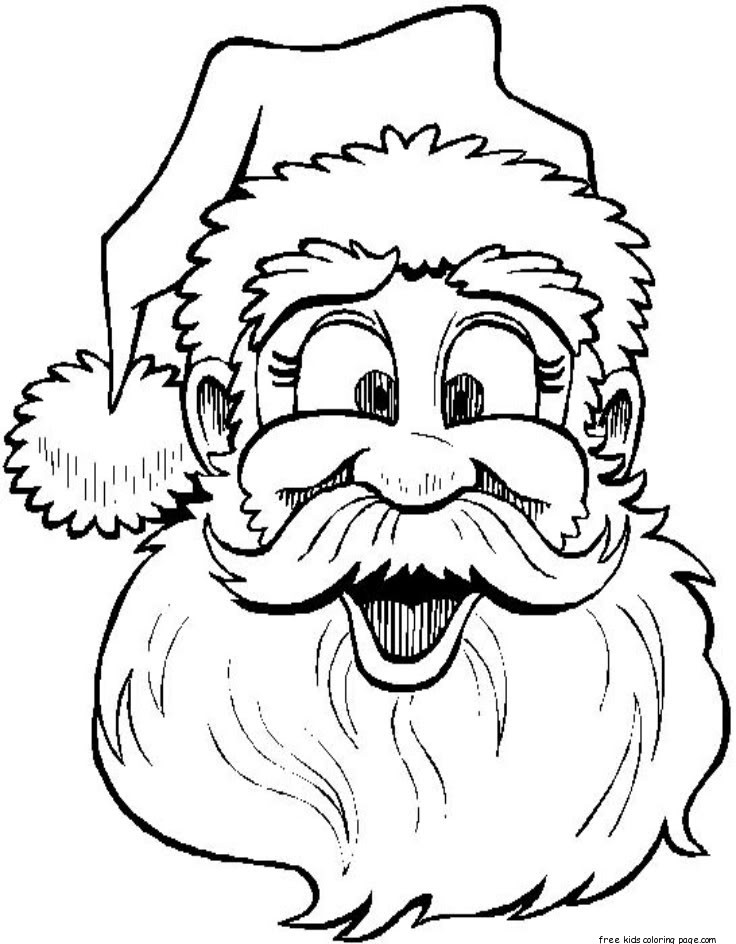 Printable santa claus face colouring page for kidsFree