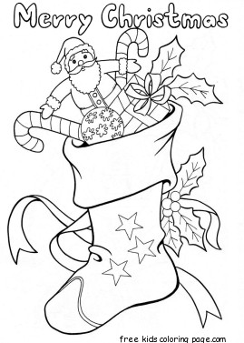christmas stockings with candy and toys coloring pagesFree