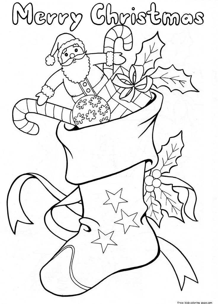 Christmas stockings with candy and toys coloring pages for Christmas stocking color page