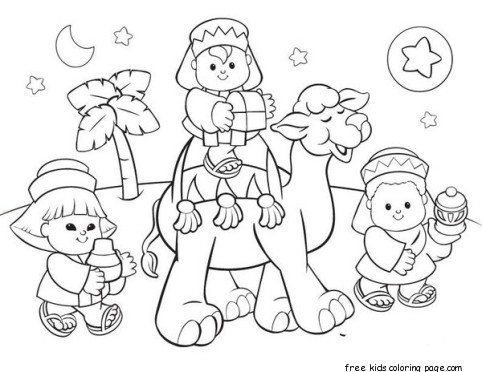 printable christmas picture of wise men coloring pagesFree