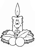 kids coloring pages of Christmas Candles with smile face