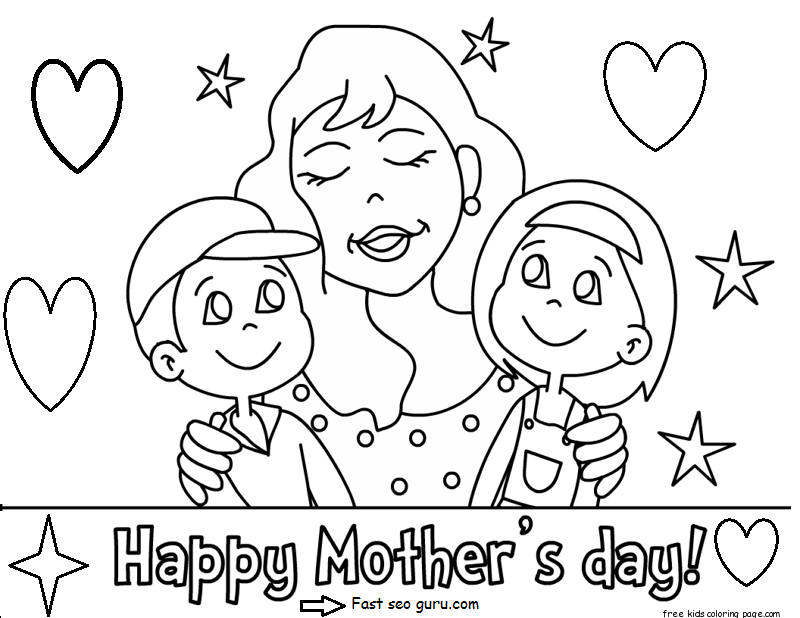 Printable Happy Mothers Day With Her Children Coloring PagesFree