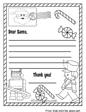 Best Coloring For Kids : Free wishlist for Santa coloring page